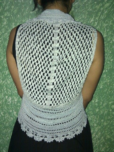 Crochet green shrug (backside view)