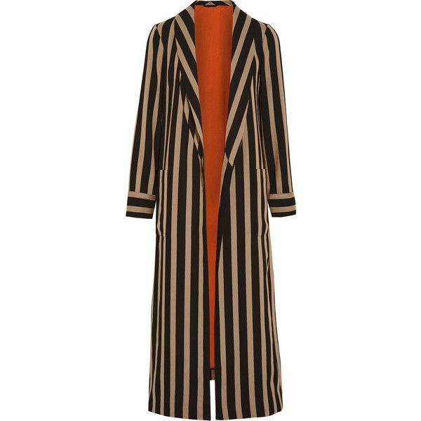 Etro Striped cady jacket ($1,395) ❤ liked on Polyvore featuring outerwear, jackets, coats, striped, etro, stripe jacket, longline jacket, longline cami and etro jacket