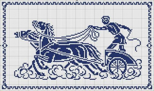 Roman charriot - Chart for cross stitch or filet crochet.