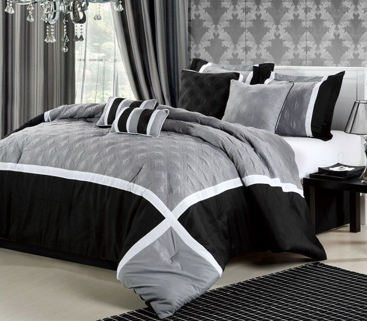 black white and charcoal grey comforter quincy blackgrey luxury comforter bedding set - Cal King Comforter Sets