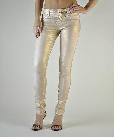 Blush Gold Foil Pastille Skinny Jeans #zulily #zulilyfinds
