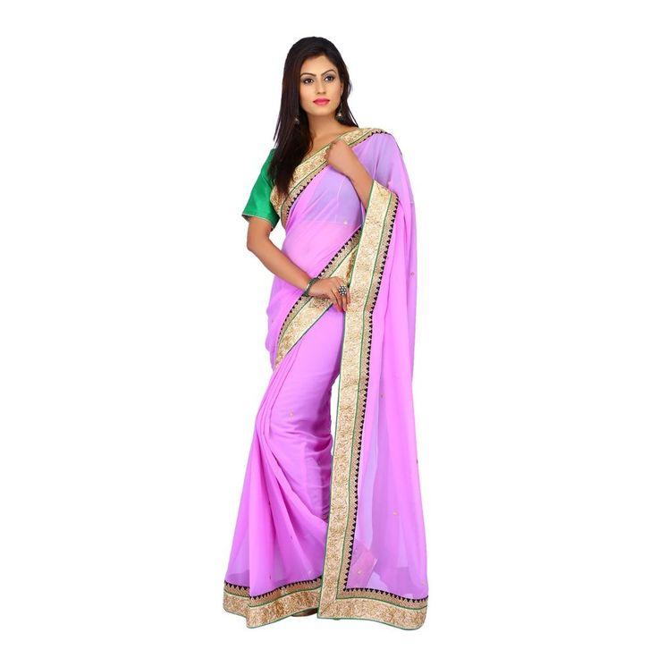 Indian Ethnic Wedding Pink Chiffon Designer party wear Women Saree with Blouse #Milonee #NewDesignerSaree