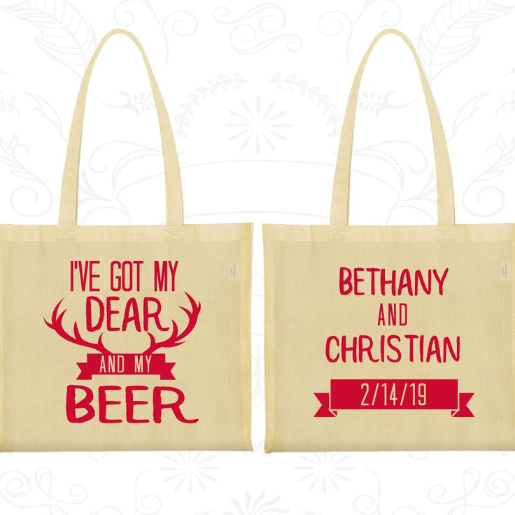 I've got my dear and my beer, Printed Shopping Tote Bags, Deer Antler Bags, Antler Wedding Bags, Tote Bag Wedding (286)