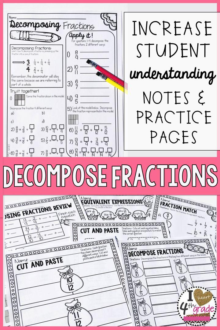 Decomposing fractions worksheet grade 4