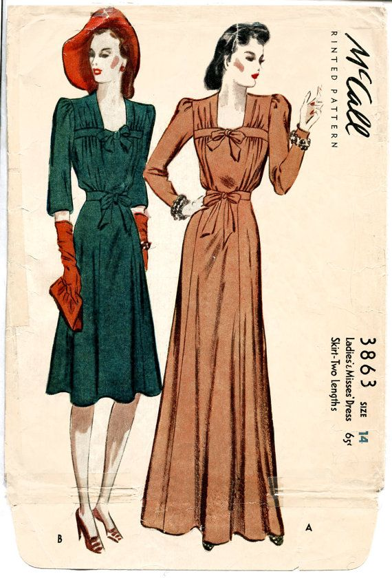 1940s 40s vintage sewing pattern McCall 3863 evening gown cocktail dress gathered bodice bow waist bust 32 b32 repro English & French