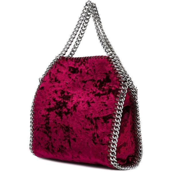 Stella McCartney mini Falabella tote ($935) ❤ liked on Polyvore featuring bags, handbags, tote bags, stella mccartney tote, logo tote bags, purple purse, mini handbags and velvet purse