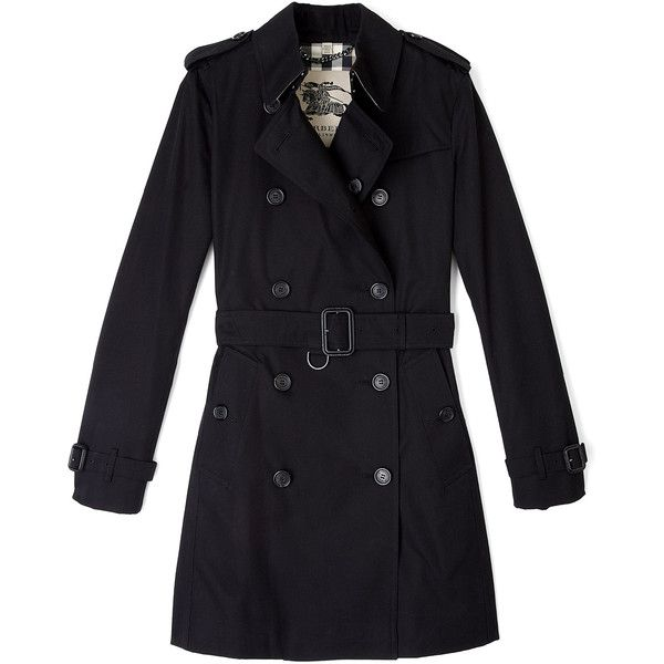 Burberry Brit Jet Black Buckingham Trench Coat ($1,368) ❤ liked on Polyvore featuring outerwear, coats, jackets, coats & jackets, burberry, trench coat, burberry coat, double breasted trench coat, burberry trenchcoat and cotton trench coat