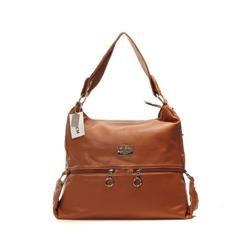 Coach Zip Logo Large Tan Shoulder Bags DIN