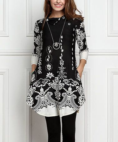 Another great find on #zulily! Black & White Paisley Shawl Collar Button Tunic Dress #zulilyfinds