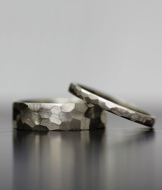 Image of 6mm and 2mm faceted wedding band set