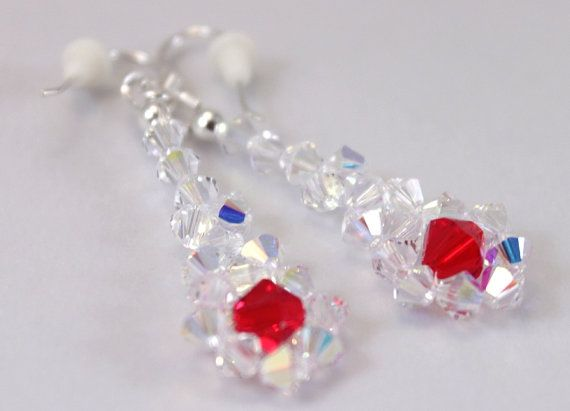Bridal earrings Swarovski white and red by CrystalHandmade on Etsy, $24.00
