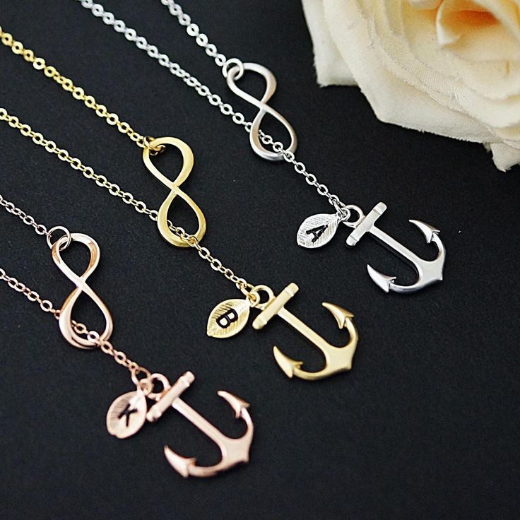Infinity with Anchor Charm Personalized initial Necklace - Earrings Nation