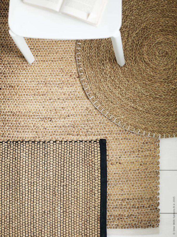NIPPRIG 2015 matta B76×L114cm, rund matta Ø74cm, är handvävda av vattenhyacint och sjögräs, två naturligt hållbara och förnyelsebara material.