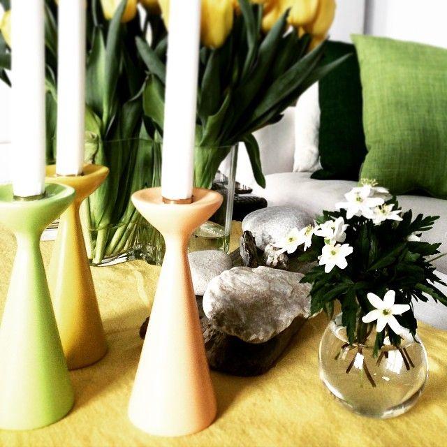 FREEMOVER.se Inga™ candlesticks in soft spring pastel colors. Design Maria Lovisa Dahlberg. FSC certified wood, since 2004.