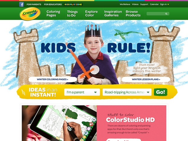 Crayola Website // How do can you use the screen to drive creative behavior offline? We designed Crayola's website in a way that was intuitive, easily navigable, and most importantly importantly—helped parents get their kids exploring creativity away from the screen.