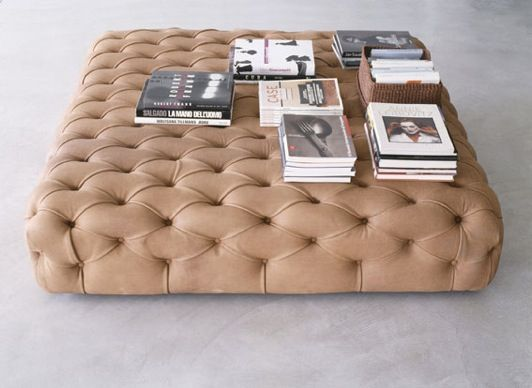 Pouf Capitonne - square upholstered button tuffted HUGE ottoman table. LOVE IT.