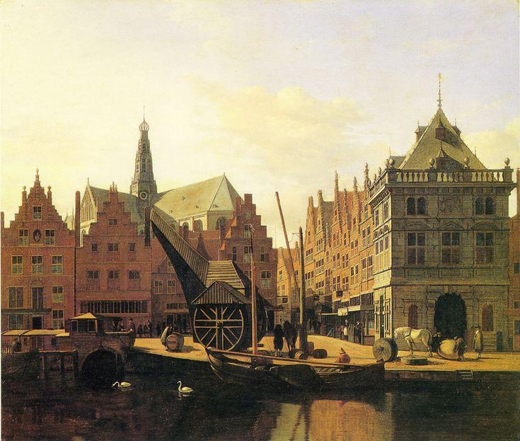 Gerrit Berckheyde, Gezicht op Haarlem vanaf het Spaarne, 1669.