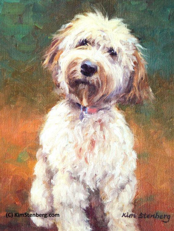 """Goldendoodle, Custom Pet Portrait, Dog Painting, Cat, 12 x 9"""", Oil Painting, Portrait Commission, Kim Stenberg, Rich Impressionistic Art"""