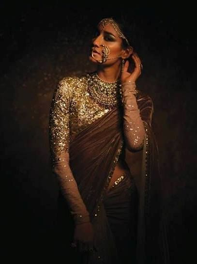 The Sabyasachi lehenga sari, sensuous and graceful at once. Wear at your cocktail or reception. Visit www.bridelan.com for details