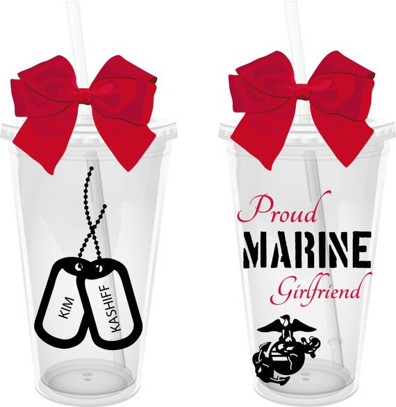 Proud Marine Girlfriend 16 oz. Personalized Acrylic Tumbler but ARMY girlfriends are the best :) I want one!