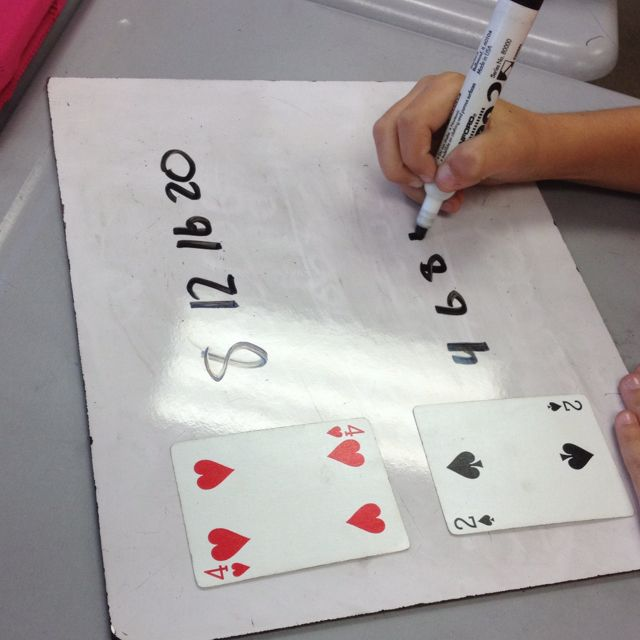 Multiplication facts...I like this, or just a quick game like war where you multiply the 2 numbers