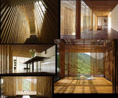 """Great (Bamboo) Wall House, China by Kengo Kuma """"light and natural materials to get a new kind of transparency."""""""