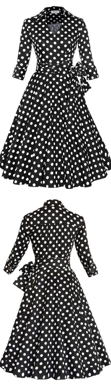 Black Lapel Polka Dots Swing Party Vintage Dress with Sleeves vintage,vintage style dress,vintage fashion,50s,50s dress,black dress,polka dots,50s fashion