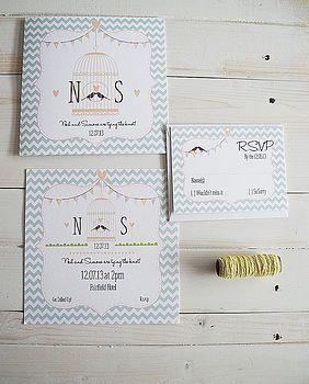 46 best janes wedding invite images on pinterest invitation ideas love bird wedding invitation set stopboris Gallery