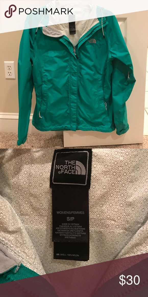 The North Face women's rain jacket This turquoise blue rain jacket is wonderful. It has been fairly worn but taken great care of. The North Face Jackets & Coats Utility Jackets