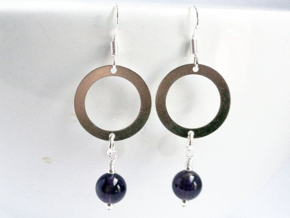 Amethyst earrings  sterling silver  silver by handmadeintoronto, $25.00