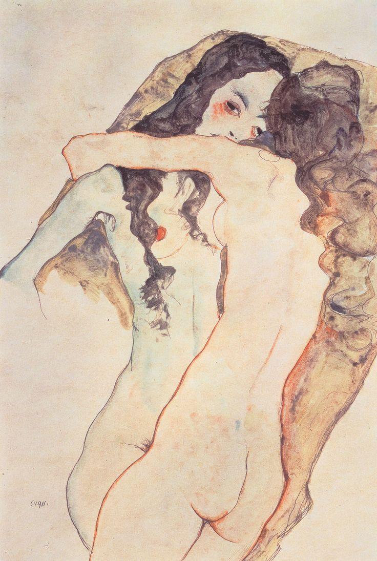 Zwei sich umarmende Frauen - 1911