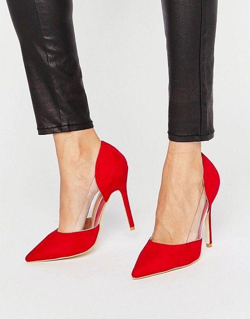 Public Desire | Красные туфли-лодочки с прозрачной вставкой Public Desire Keely
