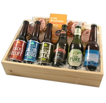 The Beers of Tasmania box is designed for the beer lover at heart, providing a taste of a selection of Tasmanian boutique beers.    With six beers and a selection of savoury nibbles and of course a box of lollies, this hamper is perfect for the beer lover who has everything!