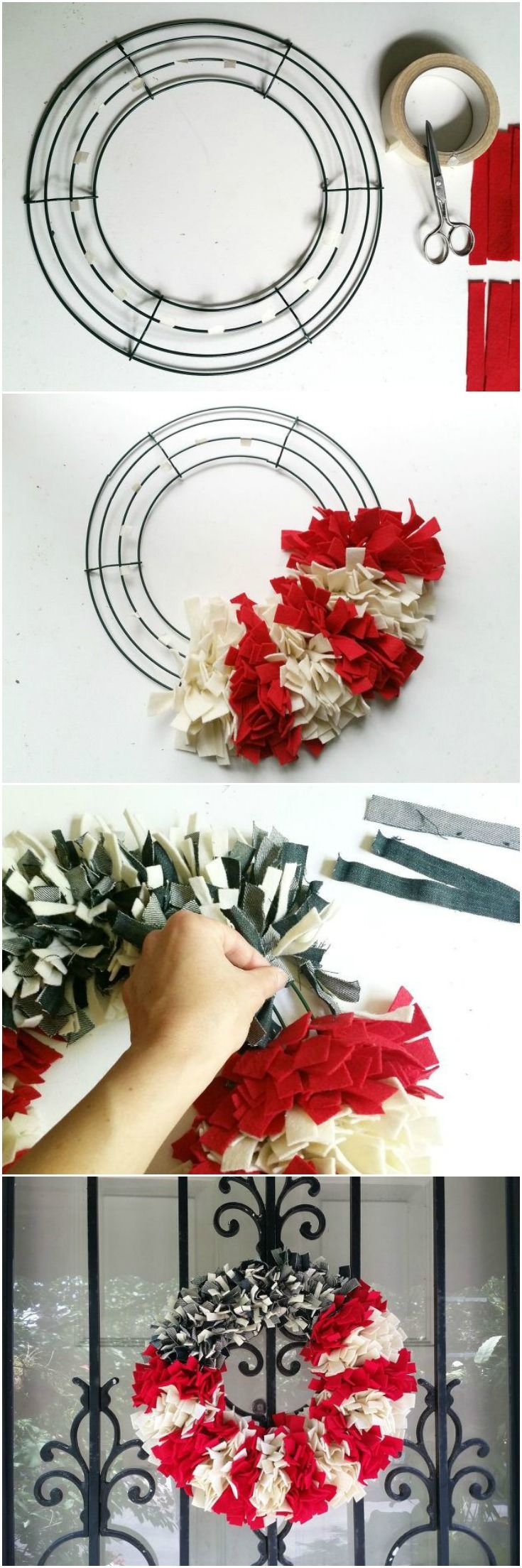 Cut up your old jeans for this gorgeous 4th of July wreath front door idea!
