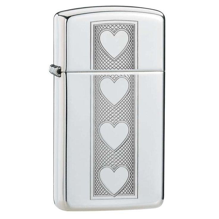 Zippo Slim Hearts High Polish Chrome Lighter