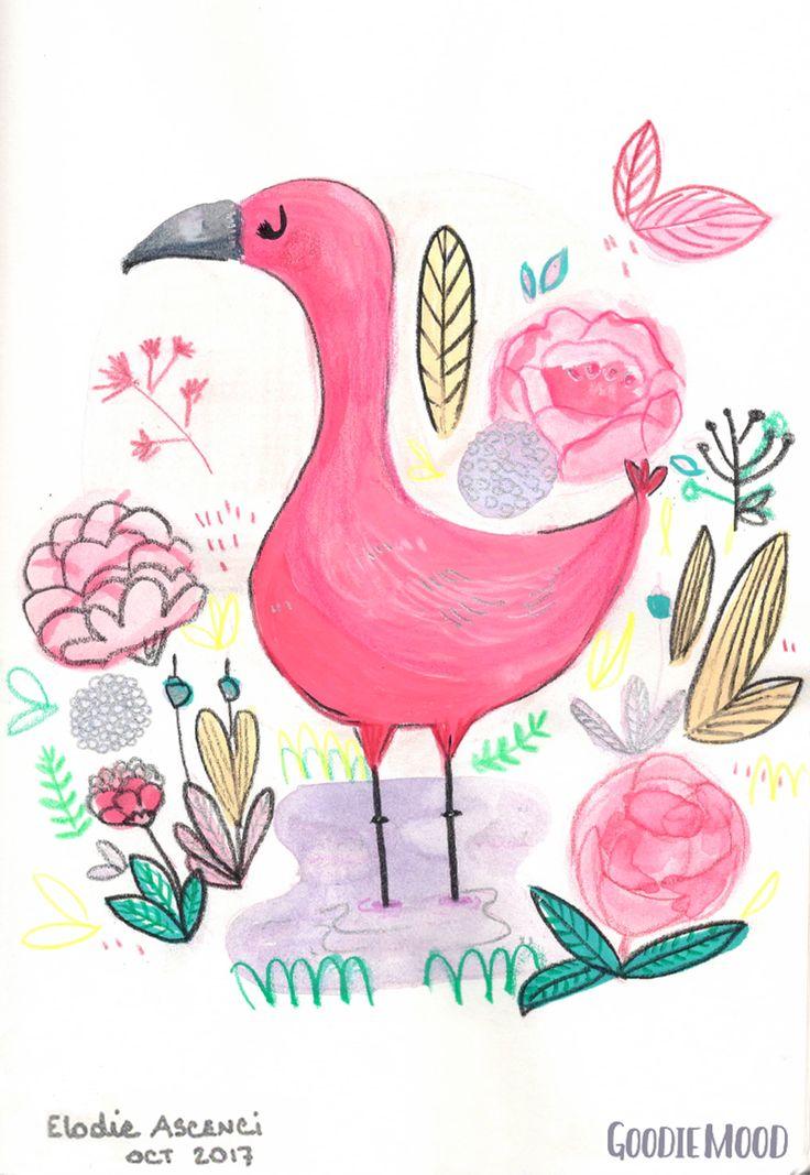illustration d'un flamant rose à l'aquarelle et aux crayons de couleurs