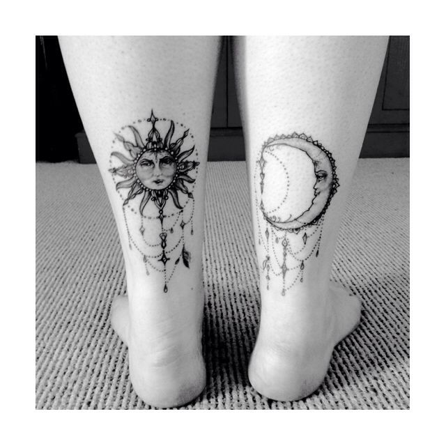 Pretty sun and moon tattoos, not this low on the legs though, I would do above the knees