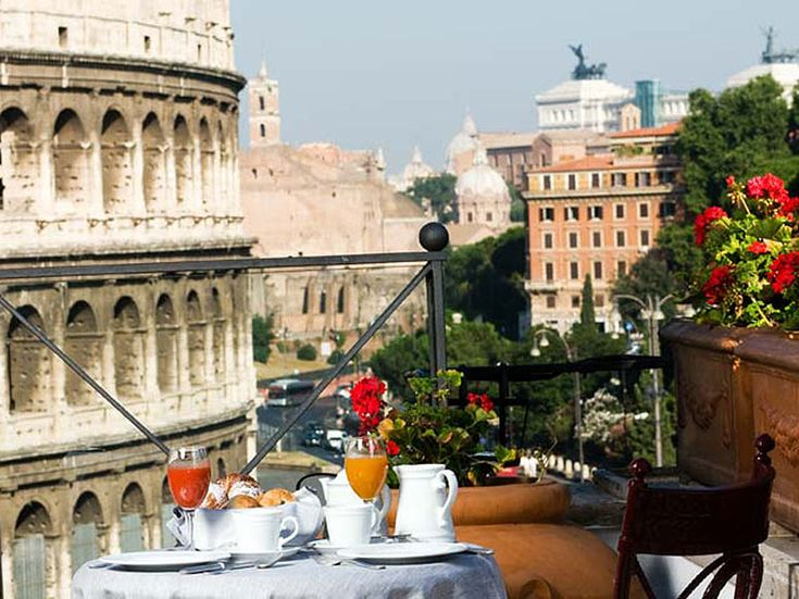 My pied a terre, with the best view of the Colosseum, is found on the rooftop restaurant at the Hotel Palazzo Manfredi in Rome.