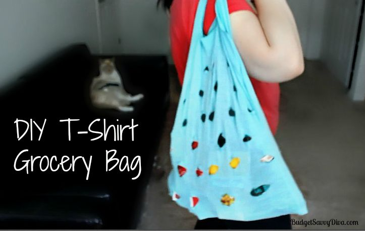 How To Make A T-Shirt Grocery Bag - Done in 10 minutes!!!! Perfect use for old shirts! So smart!