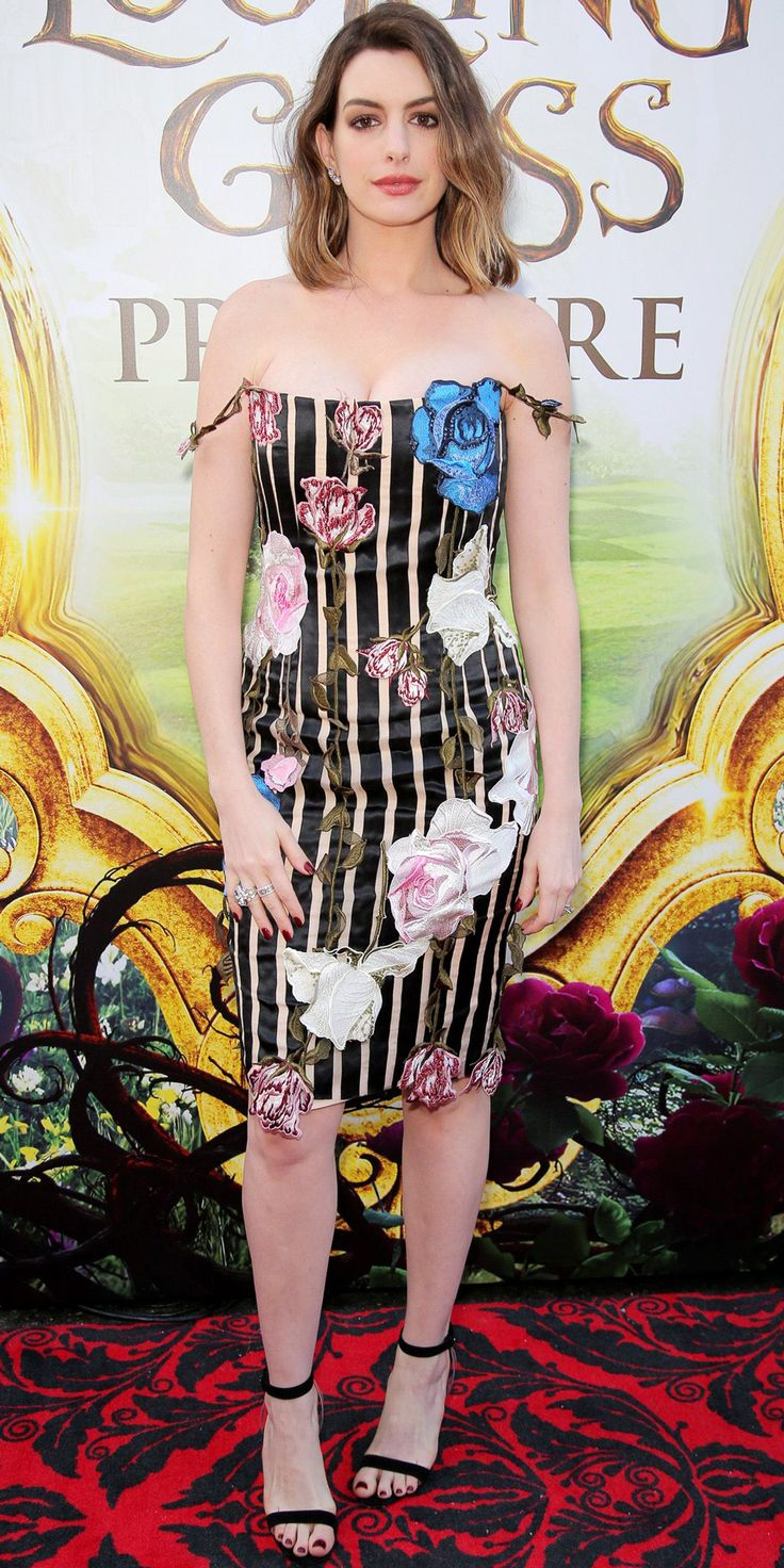 New Mom Anne Hathaway Stuns in Stripes at L.A. Premiere of Alice Through the Looking Glass from InStyle.com