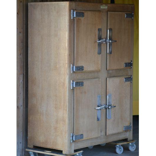 Ancienne glaci re en bois de bistrot authentique ossature et portes en ch ne massif cot - Meuble glaciere bois ...