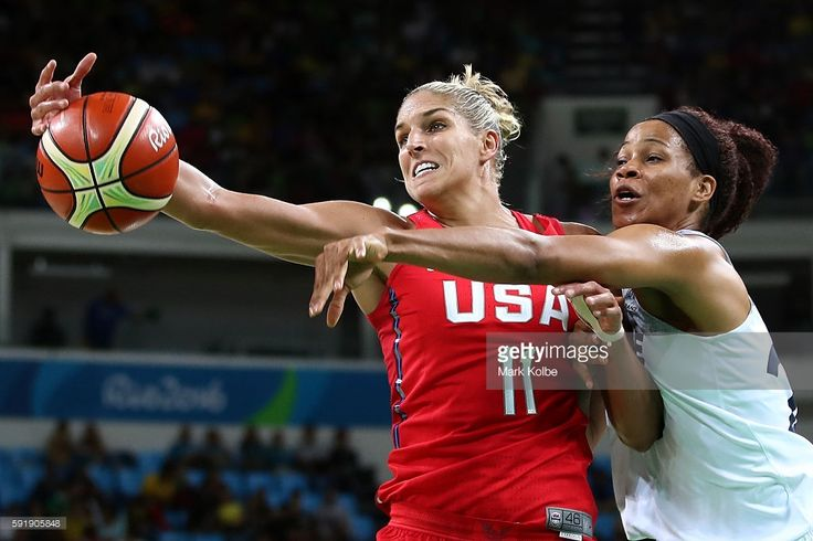 Elena Delle Donne #11 of the United States works against Amant Marielle #25 of France during a Women's Semifinal Basketball game between the United States and France on Day 13 of the Rio 2016 Olympic Games at Carioca Arena 1 on August 18, 2016 in Rio de Janeiro, Brazil.