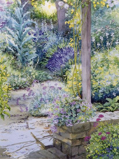 Garden Pathway - watercolour by Dorothy Pavey