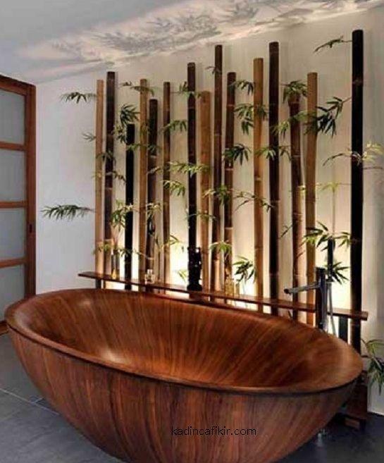 yuvarlatilmis ahsap kuvet ile banyo dekorasyon modeli | Kadınca Fikir
