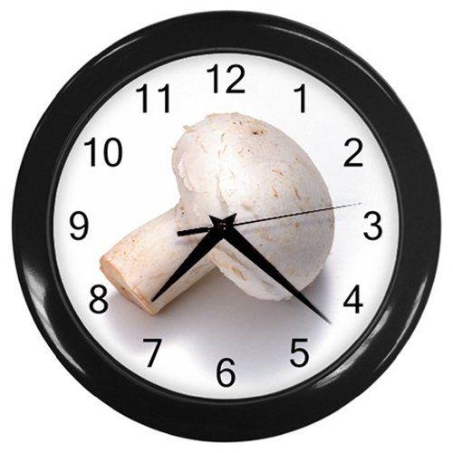 White+Mushroom+Black+Frame+Kitchen+Wall+Clock