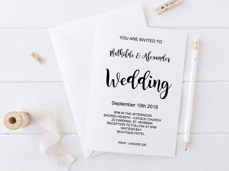 invitatii de nunta black & white