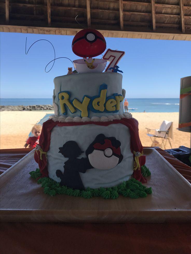 Sun was making the buttercream melt. Pokémon beach birthday cake fondant buttercream theater movie