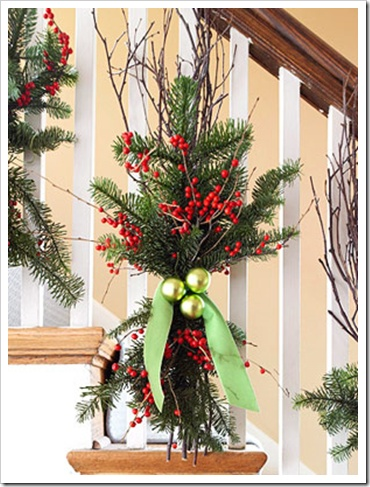 stairway railing christmas decor holidays pinterest