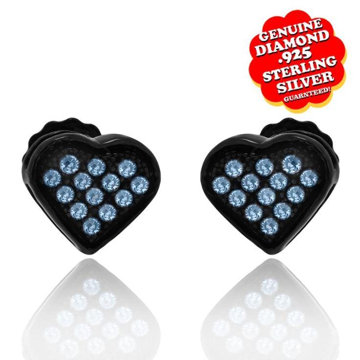 1/8 Ct Blue Genuine Diamond Heart Stud Earrings 14K Black Gold Over $999 #AffinityFashionJewelry #Stud #EngagementWeddingAnniversaryPromiseValentine