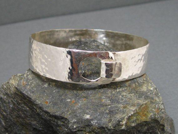 Sterling Silver Artisan Hammered Cuff Bangle Bracelet, Handcrafted Hand Forged Sterling Bracelet by Liz Blanchflower Stone and Sterlingl